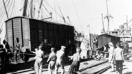 English rolling stock arriving in Bandar Shahpur, Iran by train on June 25, 1942 before travelling on to Russia. Allied war…