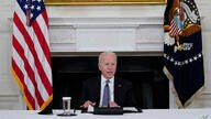 President Joe Biden speaks during a meeting with Cuban-American leaders in the State Dining Room of the White House in…