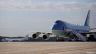 A pair of Boeing 747 Air Force One presidential aircraft are seen at Joint Base Andrews in Maryland