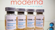 FILE PHOTO: Vials and medical syringe are seen in front of Moderna logo in this illustration