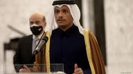 Qatari foreign minister Sheikh Mohammed bin Abdulrahman Al-Thani, speaks after meeting with Lebanon's President Michel Aoun at the presidential palace in Baabda