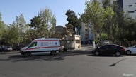 An ambulance leaves Shariati Hospital, amid the spread of the coronavirus disease (COVID-19), in Tehran