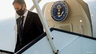 U.S. Secretary of State Antony Blinken disembarks from his airplane upon arrival ahead of the NATO Summit at Brussels Airport in Belgium