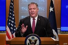 US Secretary of State Mike Pompeo speaks at a press conference at the State Department in Washington, DC, on October 21, 2020. …