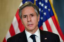 US Secretary of State Antony Blinken addresses the media following the closed-door morning talks between the United States and…