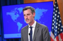 US State Department Spokesman Ned Price speaks ahead of an address by US Secretary of State Antony Blinken during the release…