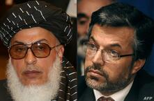 (COMBO) This combination of pictures created on July 7, 2021 shows (L to R) Taliban deputy negotiator Abbas Stanikzai during…