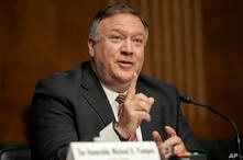 Secretary of State Mike Pompeo testifies during a Senate Foreign Relations committee hearing on the State Department's 2021…