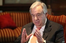 FILE - In this Feb. 18, 2020, file photo, U.N. Secretary-General Antonio Guterres speaks during an interview with The…