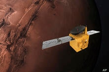 FILE - This June 1, 2020, file rendering provided by Mohammed Bin Rashid Space Centre shows the Hope probe. A Japanese H-IIA…