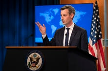 State Department spokesman Ned Price speaks during a news conference at the State Department, Tuesday, Feb. 23, 2021, in…