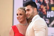 Britney Spears and Sam Asghari arrive at the Los Angeles premiere of
