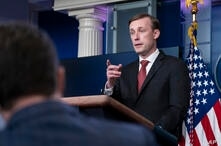 National Security Adviser Jake Sullivan speaks with reporters in the James Brady Press Briefing Room at the White House, Friday…