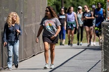 People go massless on the Atlanta Beltline on Friday, May 14, 2021, after the CDC updated their mask guidelines for COVID-19…