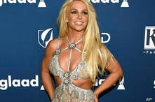 FILE - In this April 12, 2018 file photo, Britney Spears arrives at the 29th annual GLAAD Media Awards in Beverly Hills, Calif…
