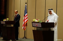Bahrain Foreign Minister Dr. Abdullatif bin Rashid Al Zayani, speaks during a joint press conference with U.S. Special Representative for Iran Brian Hook, in Manama