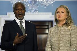 Secretary of State Hillary Rodham Clinton and Arab League Joint Special Envoy for Syria Kofi Annan make a statement to reporters regarding Syria, Friday, June 8, 2012 at the State Department in Washington.