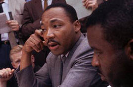 Dr. Martin Luther King Jr., attends a news conference in Birmingham, Ala.  May 9, 1963. (AP Photo/files)