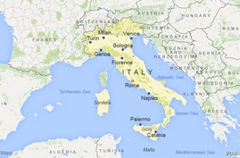 Italy, featuring the cities of Rome, Milan, Naples, Turin, Palermo, Genoa, Bologna, Florence, Catania, and Venice