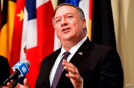 US Secretary of State Mike Pompeo speaks to reporters following a meeting with members of the UN Security Council about Iran's…