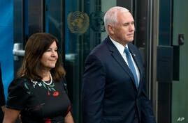 Vice President Mike Pence and his wife Karen Pence arrive during the 73rd session of the United Nations General Assembly, at U…
