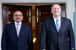 Secretary of State Mike Pompeo, right, with Bahrain's Crown Prince Salman bin Hamad Al Khalifa, left, during their meeting at…