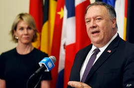 U.S. Secretary of State Mike Pompeo speaks to reporters following a meeting with members of the U.N. Security Council about…