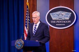 Acting Defense Secretary Christopher C. Miller briefs reporters from the Pentagon, Washington, D.C. Nov.  17, 2020. (DoD Photo…