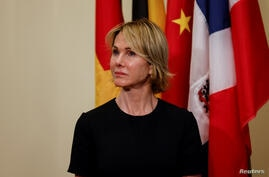 U.S. Ambassador to the United Nations Kelly Craft attends as U.S. Secretary of State Mike Pompeo spoke to reporters following a…