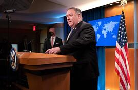 US Secretary of State Mike Pompeo speaks during a media briefing, on November 10, 2020, at the State Department in Washington…