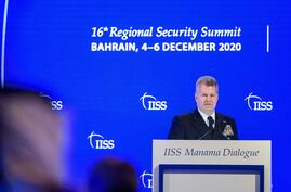 The US Naval Forces Central Command's Vice Admiral Sam Paparo (L) addresses the Manama Dialogue security conference in Bahrain…