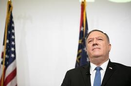ATLANTA, GA - DECEMBER 09: U.S. Secretary of State Mike Pompeo gives remarks on China foreign policy at Georgia Tech on…