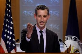 US State Department spokesman Ned Price speaks during a press briefing at the State Department in Washington, DC, on February 9…