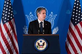 US Secretary of State Antony Blinken speaks during a news conference in Jerusalem, on May 25, 2021. (Photo by Alex Brandon /…