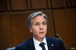 US Secretary of State Antony Blinken testifies on the State Department's fiscal year 2022 budget request during a Senate…