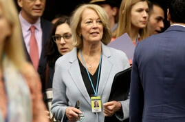 U.S. Ambassador Jackie Wolcott arrives for the start of the IAEA board of governors meeting at the International Center in…