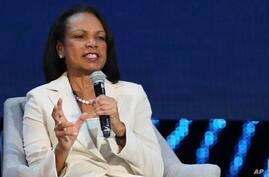 Former US Secretary of State, Condoleezza Rice speaks at the opening ceremony of the Abu Dhabi International Petroleum…