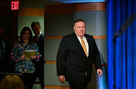 Secretary of State Mike Pompeo arrives to a press conference at the State Department, Wednesday, June 24, 2020 in Washington,…