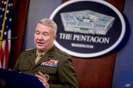 U.S. Central Command Commander Marine Gen. Kenneth McKenzie speaks, Wednesday, Oct. 30, 2019, at a joint press briefing at the…