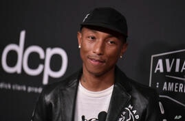 FILE - In this Nov. 3, 2019 file photo, Pharrell Williams arrives at the 23rd annual Hollywood Film Awards at the Beverly…