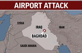 IRAQ shaded relief map highlighted with BAGHDAD  blast locator, with AIRPORT ATTACK lettering, finished graphic