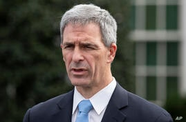 Acting Deputy Secretary for the Department of Homeland Security Ken Cuccinelli speaks about the coronavirus outside the West…