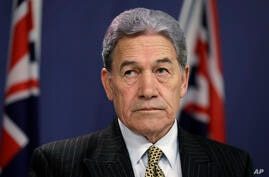 FILE - In this Oct. 4, 2019, file photo, New Zealand Foreign Minister Winston Peters listens during a press conference with…