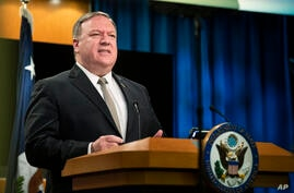 Secretary of State Mike Pompeo, speaks during a news conference at the State Department, Wednesday, July 1, 2020, in Washington…