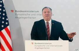 US Secretary of State Mike Pompeo attends a joint news conference with Austrian Foreign Minister Alexander Schallenberg in…