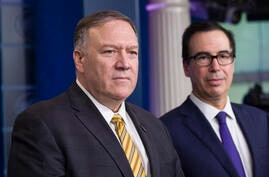 Secretary of State Mike Pompeo and Treasury Secretary Steve Mnuchin speak during a briefing on terrorism financing at the White…