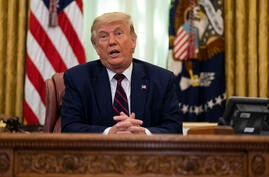 President Donald Trump speaks during a signing ceremony with Serbian President Aleksandar Vucic and Kosovar Prime Minister…