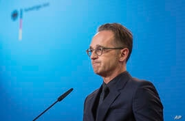 FILE-In this Sept. 2, 2020 file photo German Foreign Minister Heiko Maas attends a press conference at the Foreign Ministry in…