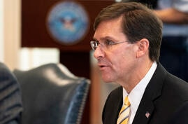 Secretary of Defense Mark Esper speaks before a meeting with Romanian Defense Minister Nicolae Ciuca, at the Pentagon, Thursday…