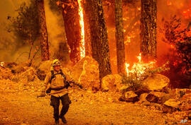 A firefighter walks a path as the Glass Fire burns along Highway 29 in Calistoga, Calif., on Thursday, Oct. 1, 2020. (AP Photo…
